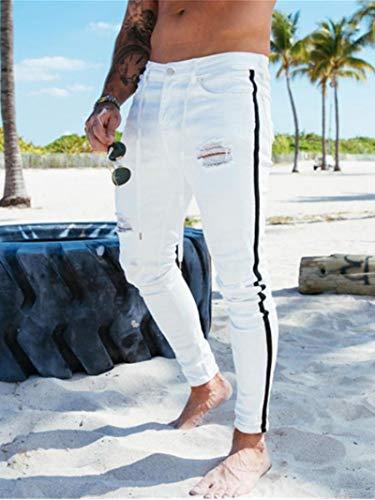 WQZYY&ASDCD Jeans Vaqueros Pantalon Ropa De Hombre Pantalones De Mezclilla Distressed Freyed Slim Fit...