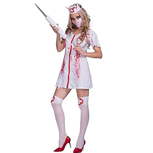 Zombie Enfermera Vestido Mujeres Horror Capricho Vestidos,Uniforme Asesino Vestimenta Incluye Vestido Tiene,Vspera de Todos Los Santos Sangrienta Enfermera Trajes-Enfermera sangrienta Cdigo medio