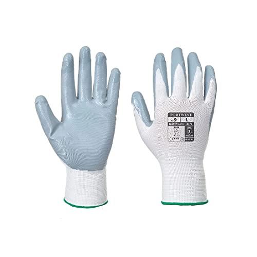 Portwest A319 - Flexo Grip Handschuh - Tasche, Size: X-Large, weiß/grau, 1