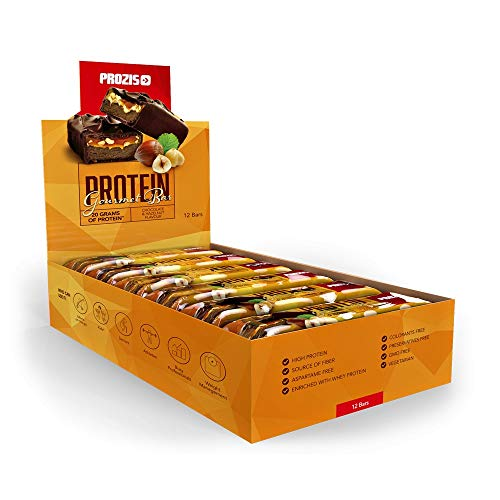 Prozis Protein Gourmet Bar Para Disfrutar Sin Remordimientos: 20 g de Proteínas, Fuente de Fibra y Bajo en Carbohidratos, Chocolate y Avellanas - 12 x 80 g