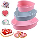 3 Pieces Heart Shaped Baking Pans,Heart Layered Cake Silicone Molds, Cake Pans for Baking, DIY Candy Chocolate Gifts for Valentine's Day, Birthdays, Mother's Day, Father's Day Sold by Rhoxshy
