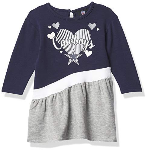 Dallas Cowboys NFL Girls Diamond Dress/All Hearts Infant, Navy/Gray/White, 18 Months