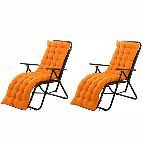 LLLD Conjunto De 2 Cojín para Tumbona Cojín Reemplazo Antideslizante Chaise Longue Cojín para Silla Jardín Universal para Viajes Vacaciones(sin Incluir Sillas) (Color : Orange, Size : 153 * 53cm)