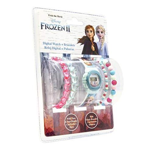 Disney Frozen 2 - Set Orologio Lcd Con 4 Braccialetti di Perle