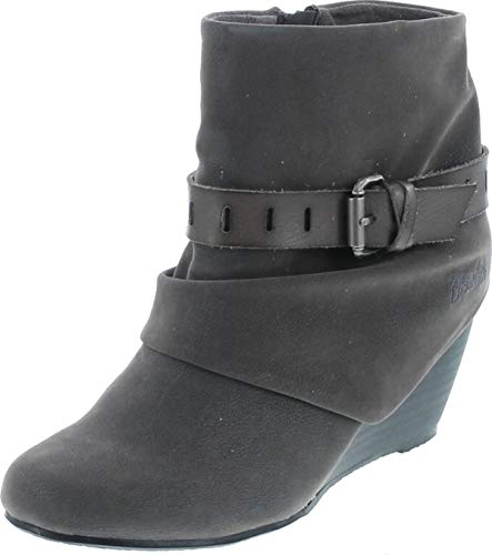 Blowfish Beryl Womens Wedge Ankle Booties Gray Fawn 8.5