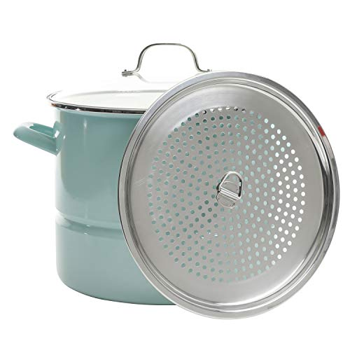 target stock pots Kenmore Broadway Steamer Stock Pot with Insert and Lid, 16-Quart, Glacier Blue