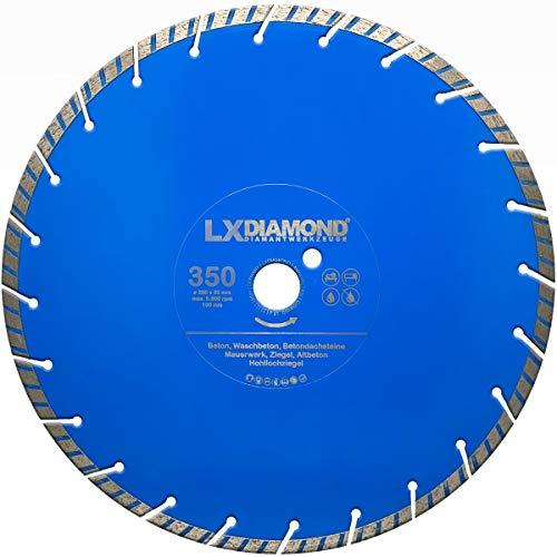 LXDIAMOND Disco de corte de diamante de 350 mm x 30 mm, turbo para hormigón, piedra, universal, hormigón lavado, disco de diamante de 350 mm de calidad premium