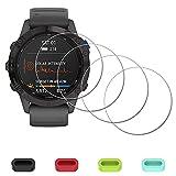 Protector de pantalla para Garmin fenix 6/6 Pro Multisport GPS Watch + tapones de silicona antipolvo, iDaPro vidrio templado antiarañazos, sin burbujas