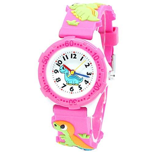 Rlevolexy Reloj infantil para niños y niñas, resistente al agua, con banda de silicona de dinosaurio 3D, los mejores regalos