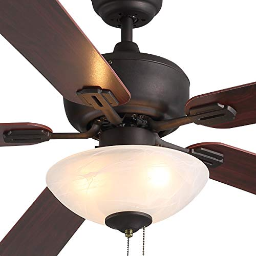 KMM Ceiling Fan with Light,52-inch Brown 5-leaf Flush Mount Indoor Ceiling Fan Light for Living Room Dining Room Kitchen Restaurant.