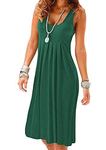 OMZIN Damen Strand Kleider Tunika Lässige Sommer Kleider A-Linie Baumwolle Freizeit Kleid Grün XL