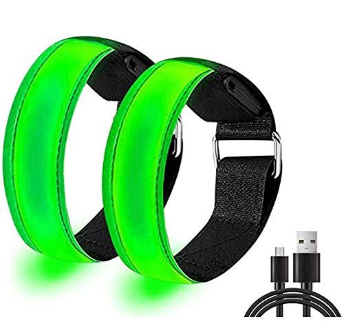 MacroHu Pulsera LED, con tres modos de iluminación LED, pulsera ajustable, banda luminosa para correr por la noche, correr, ciclismo, senderismo con perros, correr, deportes al aire libre (verde)