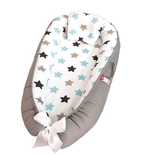 TEALP Cama Nido de Bebé Recién Nacido, Cuna de Viaje Portátil, Cuna para bebé recién nacido para 0 a 24 meses, Estrella