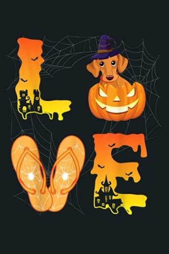 Moon Flip Flop Bat Spider Pumpkin Teckel LOVE Halloween Day: Notebook Planner - 6x9 inch Daily Planner Journal, To Do List Notebook, Daily Organizer, 114 Pages