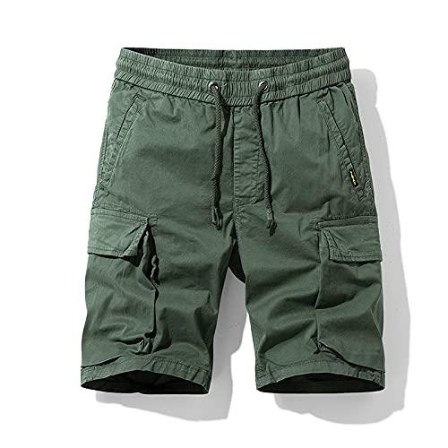 Pantalones Cortos de Carga para Hombre Color sólido Tendencia de Moda Simple Todo-fósforo Ropa de Calle con múltiples Bolsillos Pantalones Cortos Rectos Casuales Verano 38