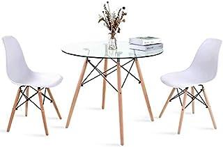 Reposapiés y una silla Inicio taburetes altos sill Tabla y sillas de 2 redonda, Estilo de madera Mesa de comedor fijaron for la oficina Salón comedor Cocina (mesa redonda de 80 cm + 2 sillas de color