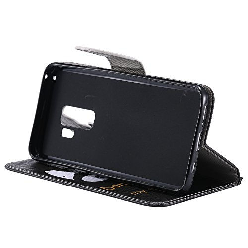 Laybomo Schuzhülle für Samsung Galaxy S9+ Ledertasche Hülle Weiches Silikon TPU Beutel mit Kartensteckplatz Stehen Bilderrahmen Brieftasche Schale Handyhülle für Samsung Galaxy S9+, Hübsch Bemalt