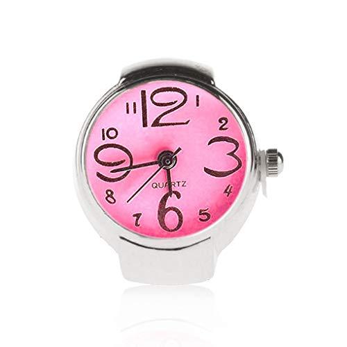5 Colores Unisex Hombres Mujeres Unisex Reloj Suena Anillos Pareja Relojes del Reloj del Anillo de Dedo elástico Correa de Acero Inoxidable