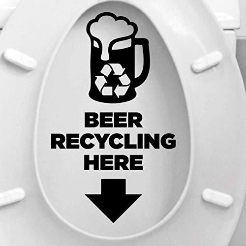 Creatief Ontwerp Bier Recycling Hier Quotes Toiletbril Sticker Vinyl Home Decor Badkamer Wc Tekst Decals Waterdicht Muurschilderingen 17X29Cm