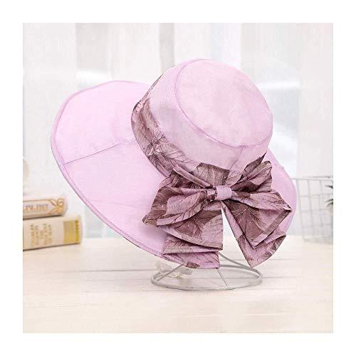 MGE Sombrero Sombrero de Sun Organza Señora Elegante Sombrero de Sol al Aire Libre de Sun de Las Mujeres Protección UV Cap Mariposa con Sombrero de Sun Decorativo (Color : Pink/B, Size : 56-58cm)