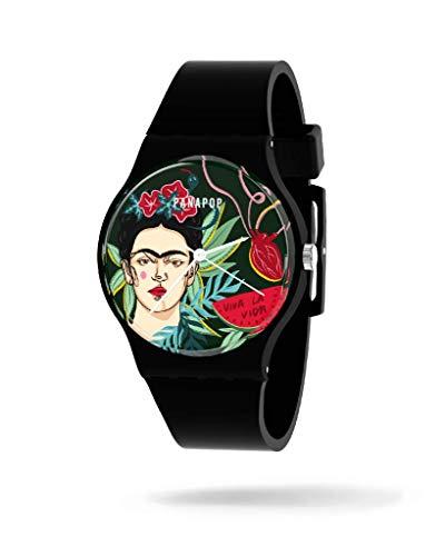Panapop | PORTRAIT | Damen-Armbanduhr | Schwarzes Silikonarmband | Frida Kahlo | Offizielles Lizenzprodukt