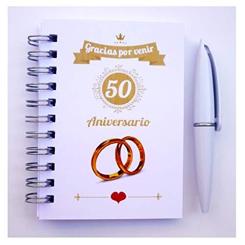 Recuerdos y Detalles Boda de Oro Para Invitados - Elegantes - Pack 15 Libretas con mini Bolígrafo - ¡Sorprenderéis a Todos Los Invitados!