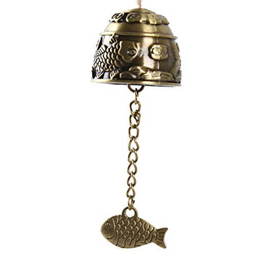 HYhy Lucky Bell Windspiel Mini Karpfen Muster Fisch Pendent Hanging Wind Glockenspiel Home Temple Decor