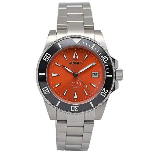 Aquacy 1769 Reloj de buceo automático para hombre, 300 m, resistente al agua, color naranja, para hombre, bisel luminoso y cristal antirreflectante, reloj de buceo para hombre