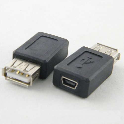 XiuHong Shop 2pcs USB 2.0 Tipo A Hembra a Mini USB Tipo B Conector Hembra Jack Adaptadores