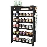 Jerry & Maggie -Wood MDF Board Shoe Rack Shelf with One Drawer Clothes Rack Shoe Storage Shelves Free Standing Flat Racks Classic Style - Multi Function Shelf Organizer (Black, 30' x 12' x 38')