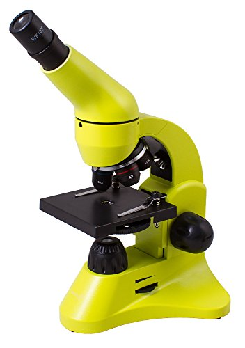 Levenhuk Rainbow 50L Lime Lightweight Student Microscope (40-800x) with Experiment Kit and Storage Case