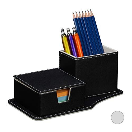 Relaxdays Schreibtisch Organizer, für Zettel & Stifte, Ordnung, Kunstleder, HBT 9 x 23,5 x 12 cm, Tisch Butler, schwarz