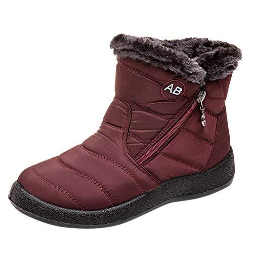 Frauen Schnee Flache Stiefeletten Kurze Stiefel Schuhe Mittlere Waden Schnürstiefel Outdoor Wandern Winter Warme Stiefeletten(35.5 EU,Wein)