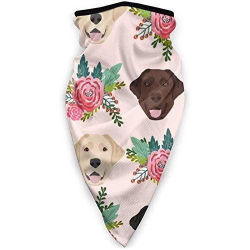 Labrador Floral Perro Rosa Crema Cuello Polaina Diadema para Hombres y Mujeres Pañuelo Multifuncional para la Cabeza Deportes al Aire Libre
