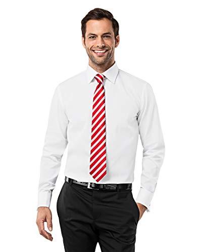 Vincenzo Boretti Herren-Hemd bügelfrei 100% Baumwolle Umschlagmanschette Regular-fit Uni-Farben - Männer lang-arm Hemden für Anzug Krawatte Business Hochzeit weiß 45-46