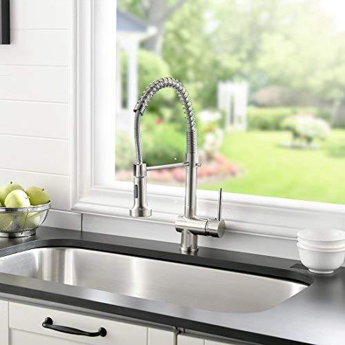 GD Wasserhahn Küche Gebürsteter Nickel Spiralfeder Armatur für Küchen Spüle Küchenarmatur mit Brause