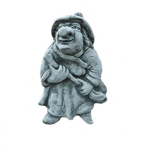 Steinfigur lustige Hexe mit Besen Massiver Steinguss frostfest Gartendeko