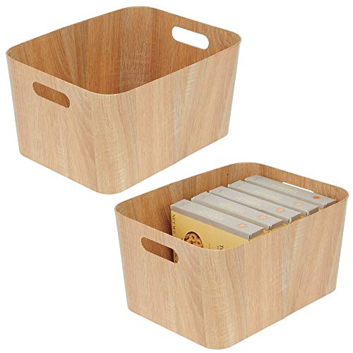 """mDesign Food Storage Container Bin with Handles - for Kitchen, Pantry, Cabinet, Fridge/Freezer - Narrow for Snacks, Produce, Vegetables, Pasta - Food Safe - 2 Pack - 16"""" Long - Natural Wood Print"""