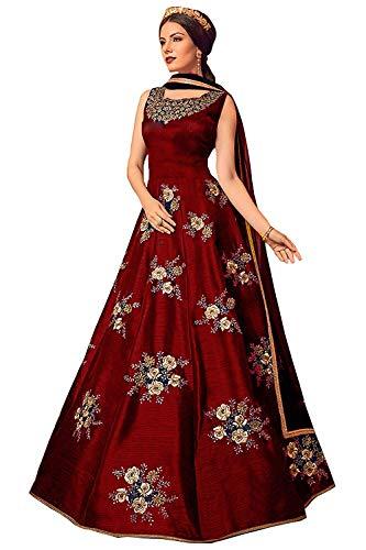 VintFlea 'Womens modische Net Heavy Gown' mit Emroidered Arbeit, halb genäht, Anarkali Anzug, indischen ethnischen Look, für Hochzeitskleidung & gelegentlich, freie Größe - Maroon