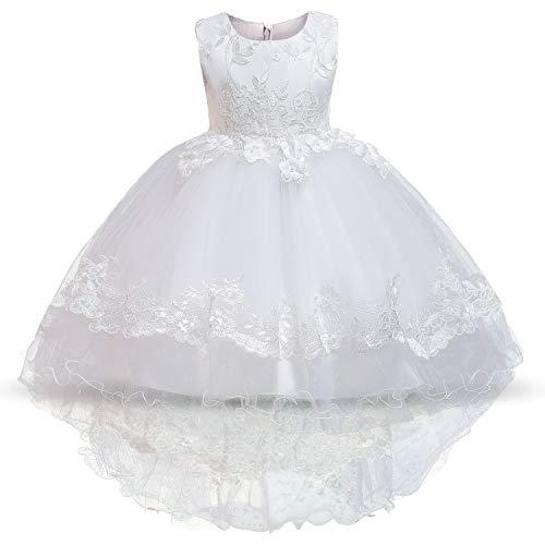 NNJXD Mädchen Elegante Blume Bestickt Tüll Party Hochzeit Prinzessin Kleid Größe (120) 4-5 Jahre weiß