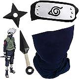 Blesser 4PCs Masque Naruto Kakashi avec bandeau en métal + Kakashi Kunai Ninja Shuriken...