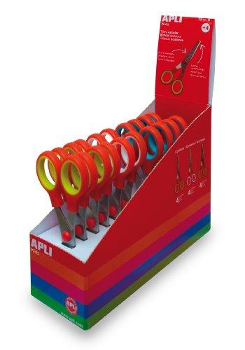 APLI Kids 12822 – Tijeras para niños (Expositor 12 unidades), varios colores