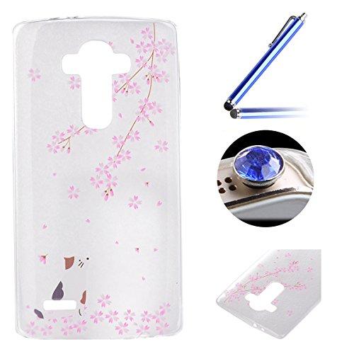 LG G4 TPU Coque étui,LG G4 Ultra-minces Silicone Doux Housse,Etsue Joli esthete beau Sakura Peint Motif Design Souple Gel avec Transparent Cadre de Housse Coque Coquille pour LG G4 + 1x Bleu style + 1x Bling poussière plug (couleurs aléatoires) - Sakura