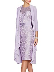 Lavender Lace Dress With Rhinestone Belt & Chiffon Jacket