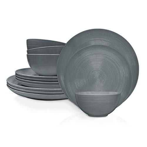 Zak Designs AC-1900002-AMZ ncludes Dinner, Salad Plates, and Individual Bowls American Conventional Melamine Dinnerware Set, 12-Piece, Charcoal