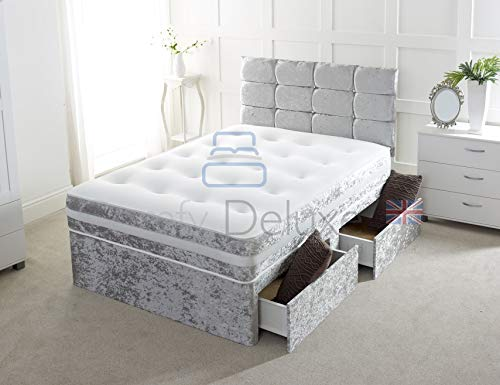 Crushed Velvet Divan Bed with | Mattress | HEADBOARD | Storage Drawers (3FT O Drawers, Silver Crush)