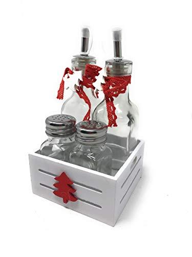 Vetrineinrete Menage da Cucina Natalizio con Dispenser Olio e aceto barattolini Sale e Pepe con Stand in Legno Decorato con Albero di Natale Decorazioni Natalizie 2021 (Bianco)