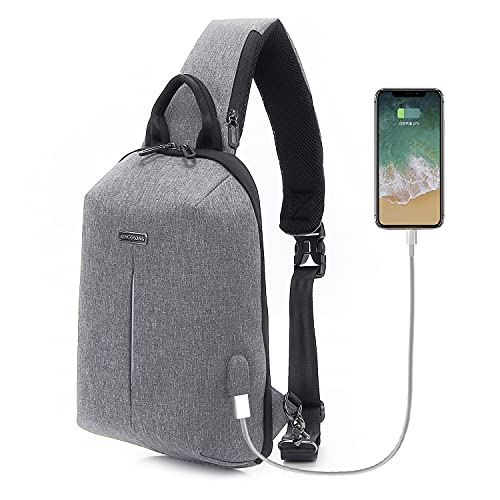 Sling Bag for Men Women Crossbody Shoulder Chest Bag Waterproof with USB Charging Port and non-deformable, Gray