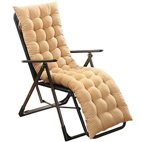 HUIJU Herfst/Winter ligstoel, verdikte lange stoel kussen, geschikt voor bank/bureaustoel/tuinstoel, inclusief beige en blauw (exclusief stoelen)