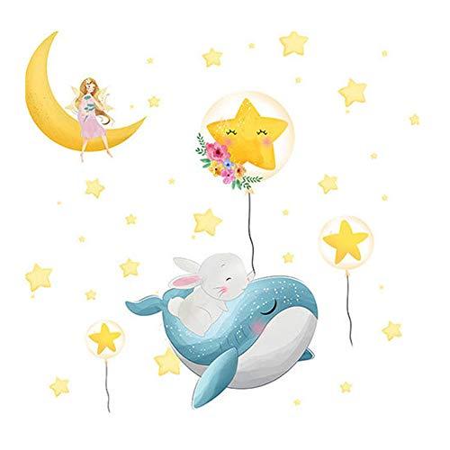 Winhappyhome Adhesivo decorativo para pared con diseño de delfín dormido, diseño de hadas, para cuarto de niños